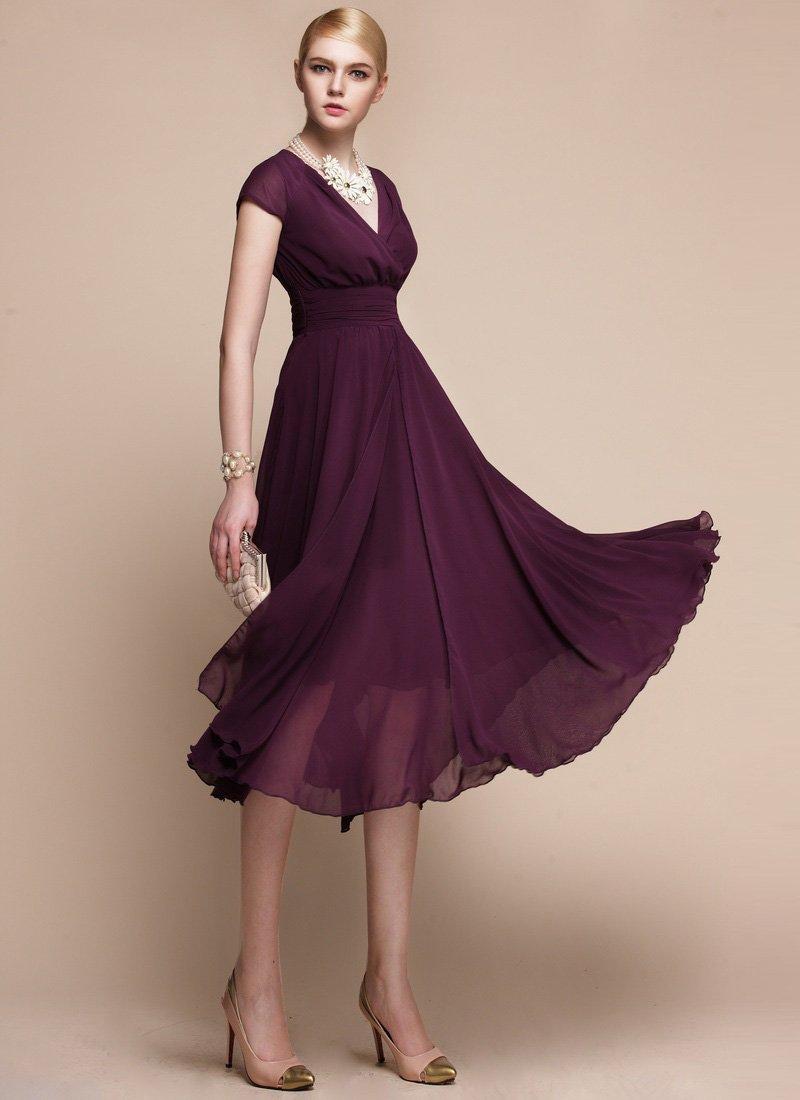 V Neck Purple Midi Dress with Layered Skirt and Ruched Waist Yoke RM114