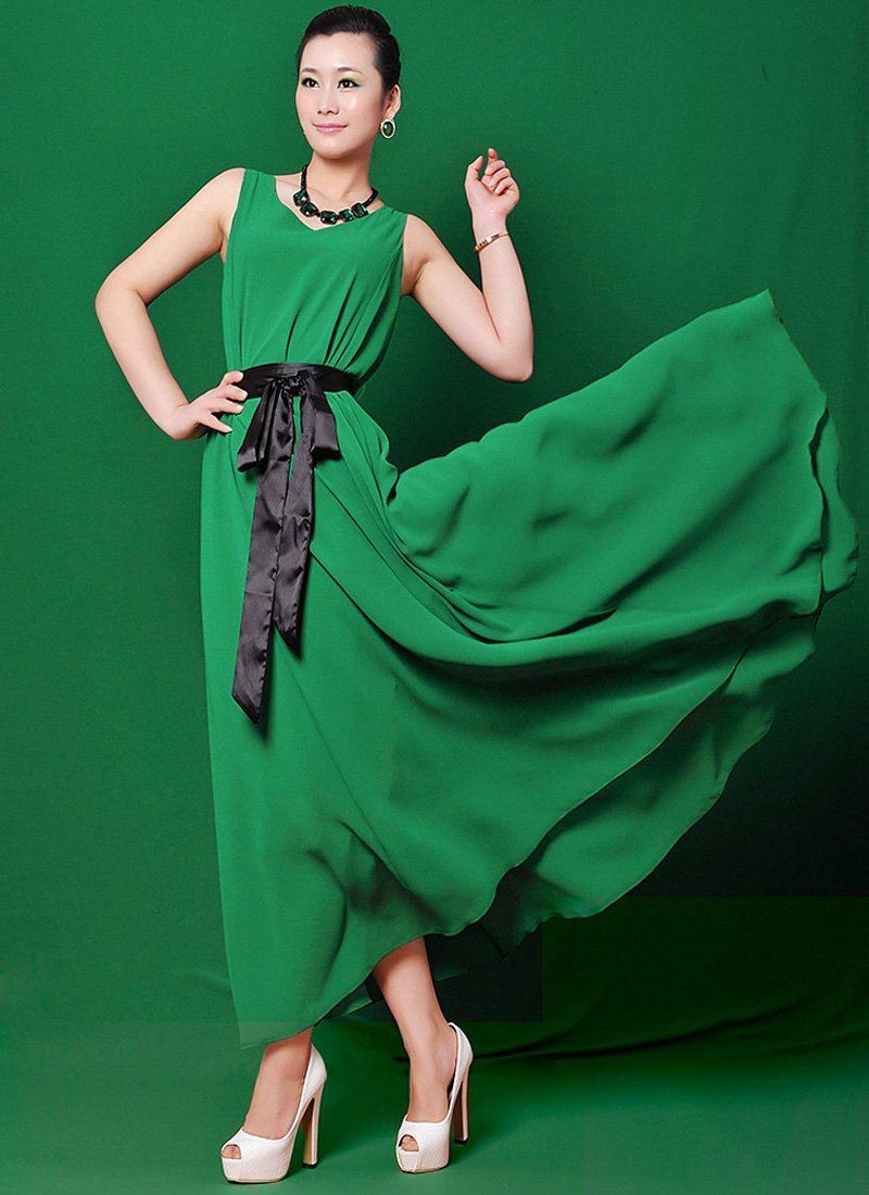 V Neck Green Maxi Dress with Black Satin Sash RM124