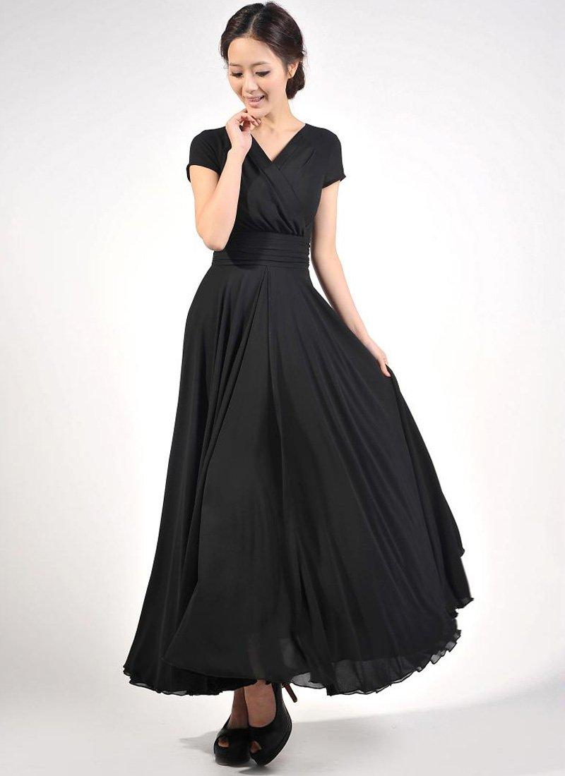 Cap Sleeve Black Maxi Dress with V Neck & Ruched Waist Yoke RM157
