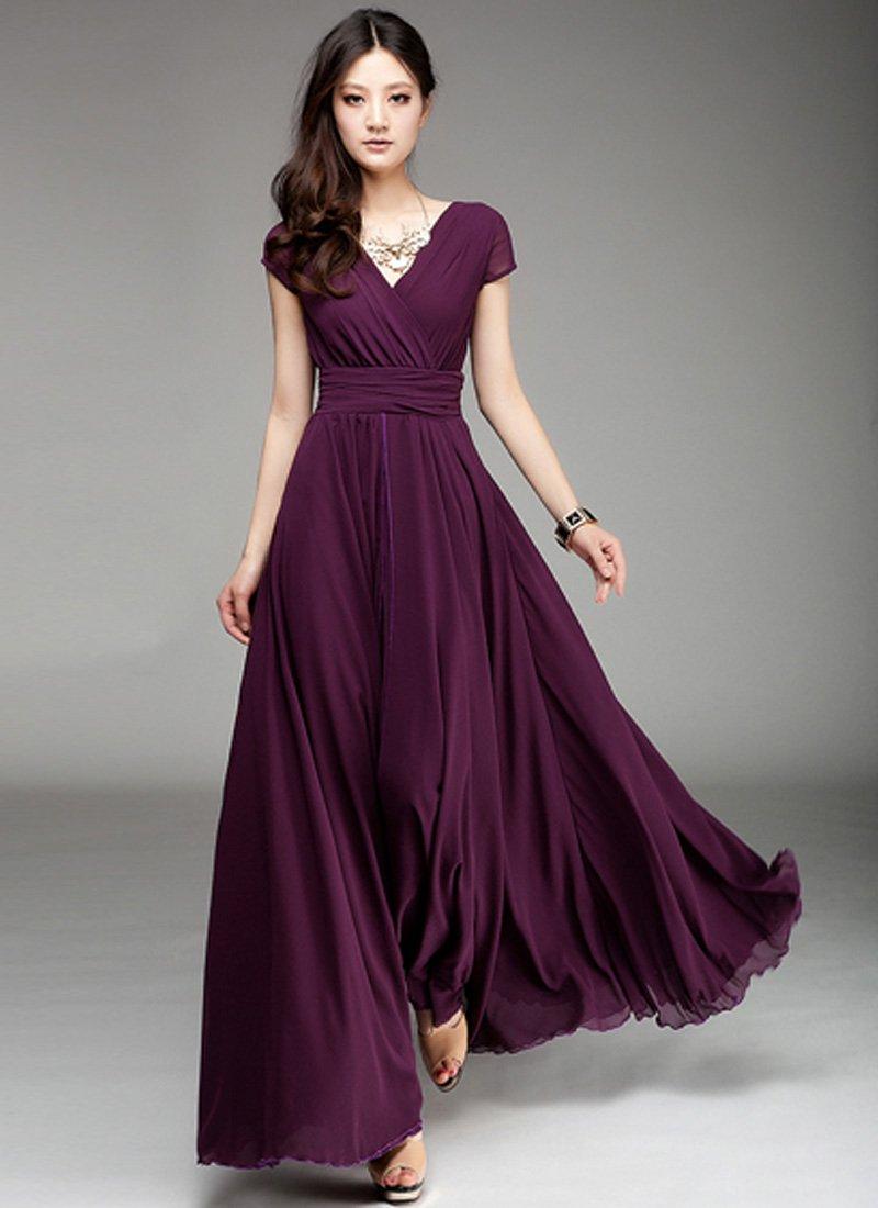 Cap sleeve purple maxi dress with v neck amp ruched waist yoke rm157