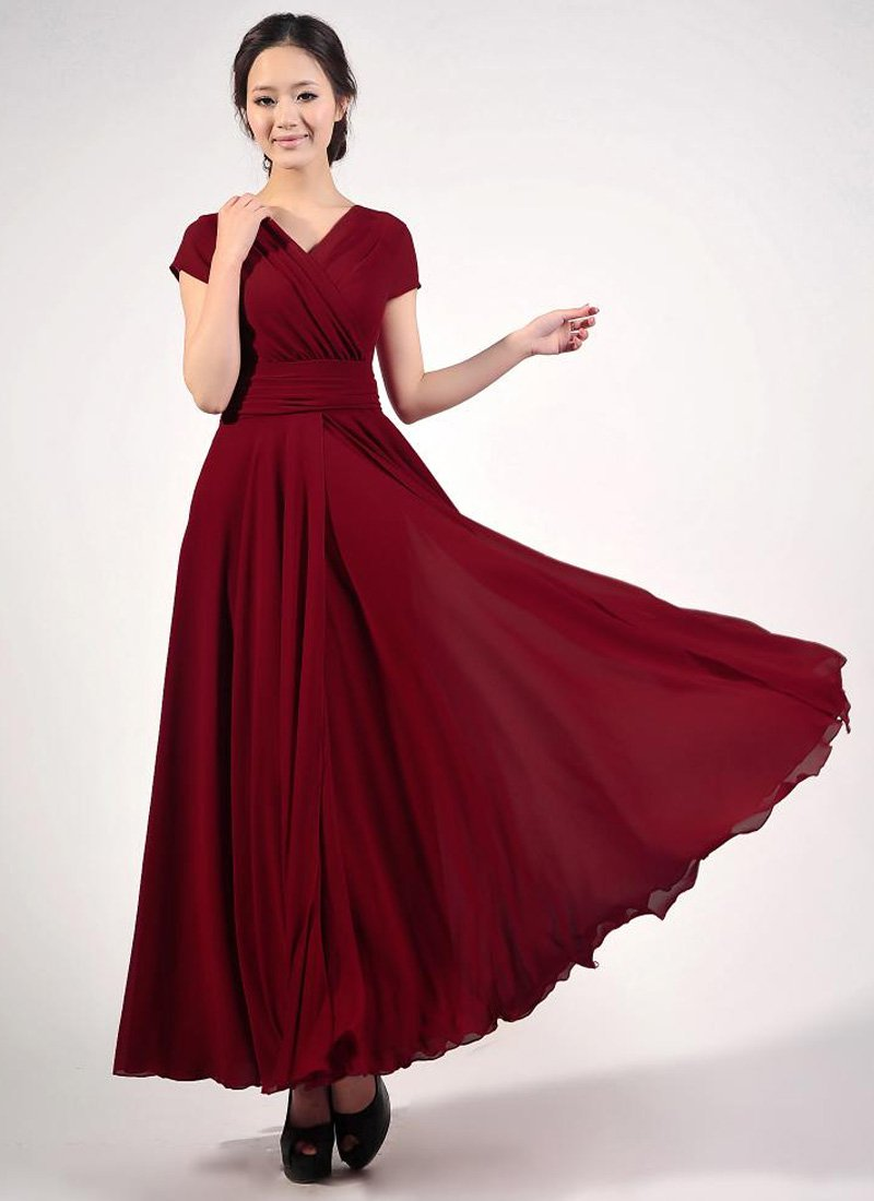 Cap Sleeve Maroon Maxi Dress with V Neck & Ruched Waist Yoke RM157