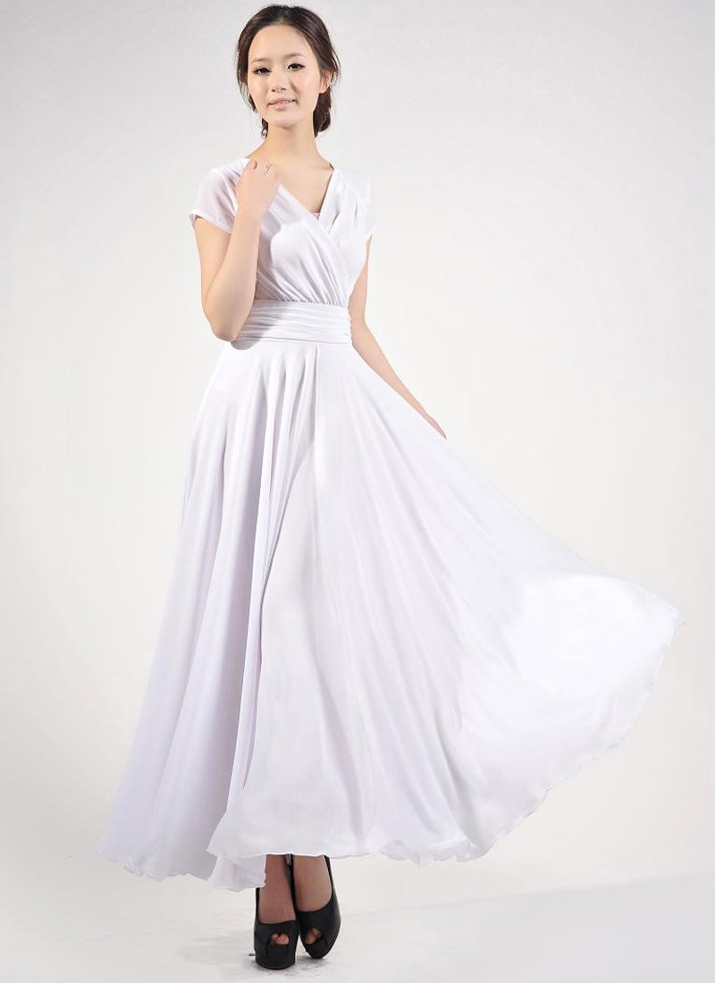 Cap Sleeve White Maxi Dress with V Neck & Ruched Waist Yoke RM157