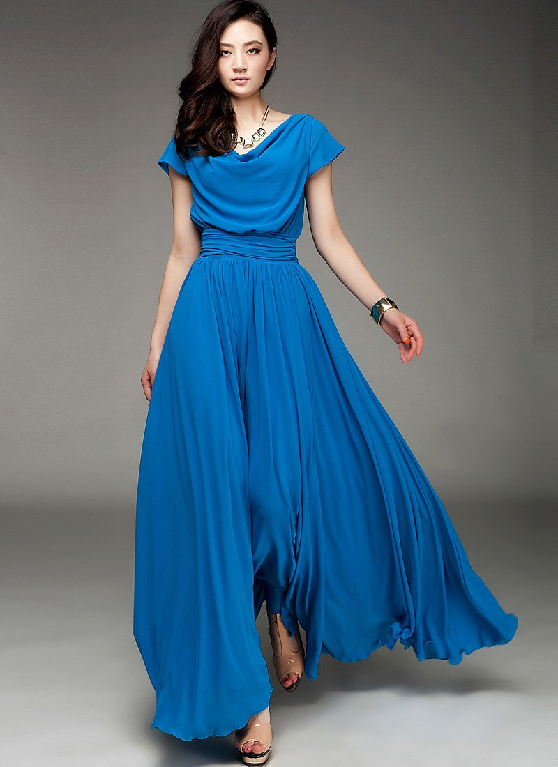 Blue Maxi Dress with Draped Neckline and Ruched Waist Yoke RM176