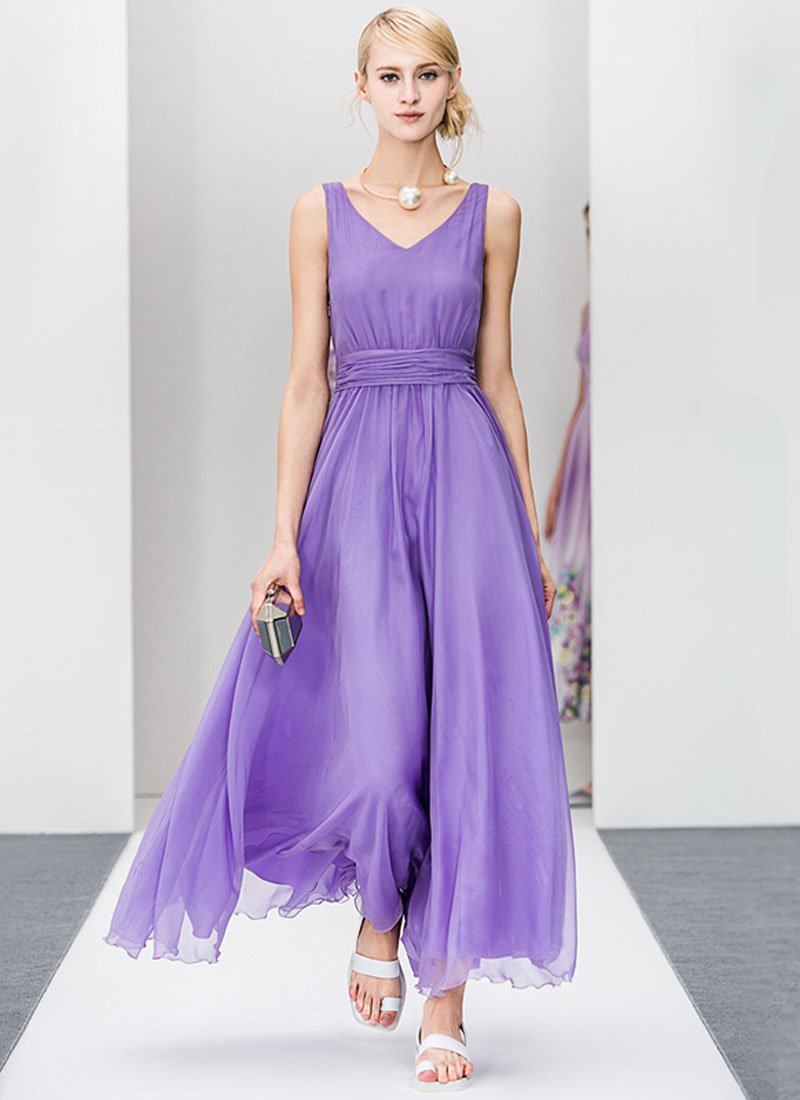Medium Orchid Maxi Dress with V Neck V Back and Ruched Waist Yoke RM227