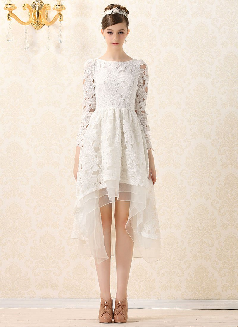 White Lace Mixi Dress with Layered Hi Lo Hem and Bow Embellishment RM229