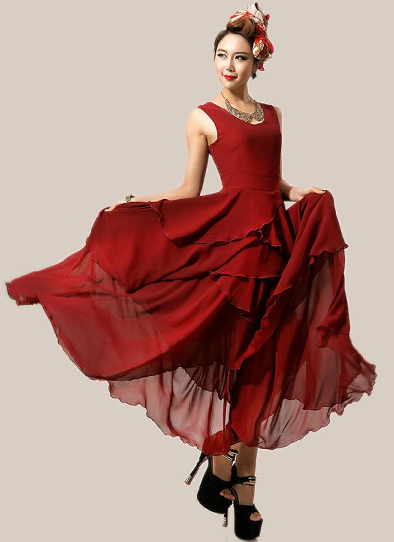 Asymmetric Burgundy Maxi Dress with Layered Skirt RM238
