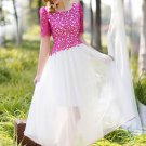 Contrast Color Lace Chiffon Maxi Dress with Fuchsia Top and White Skirt RM248