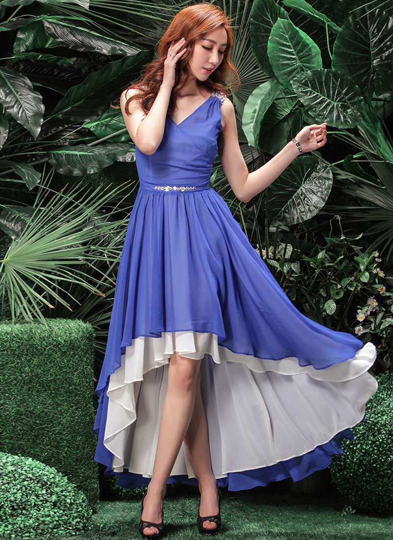 Sequined Blue Hi Lo Hem Dress with White Lining RM257
