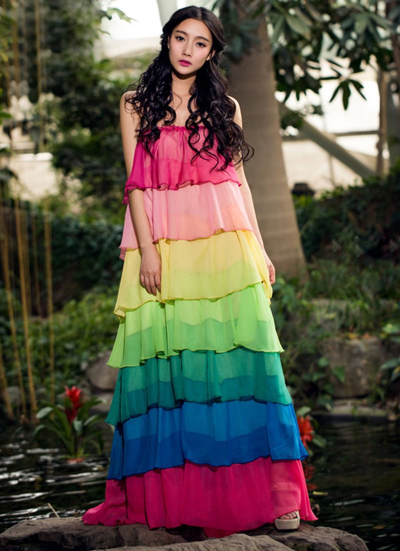 Rainbow Color Maxi Dress RM268