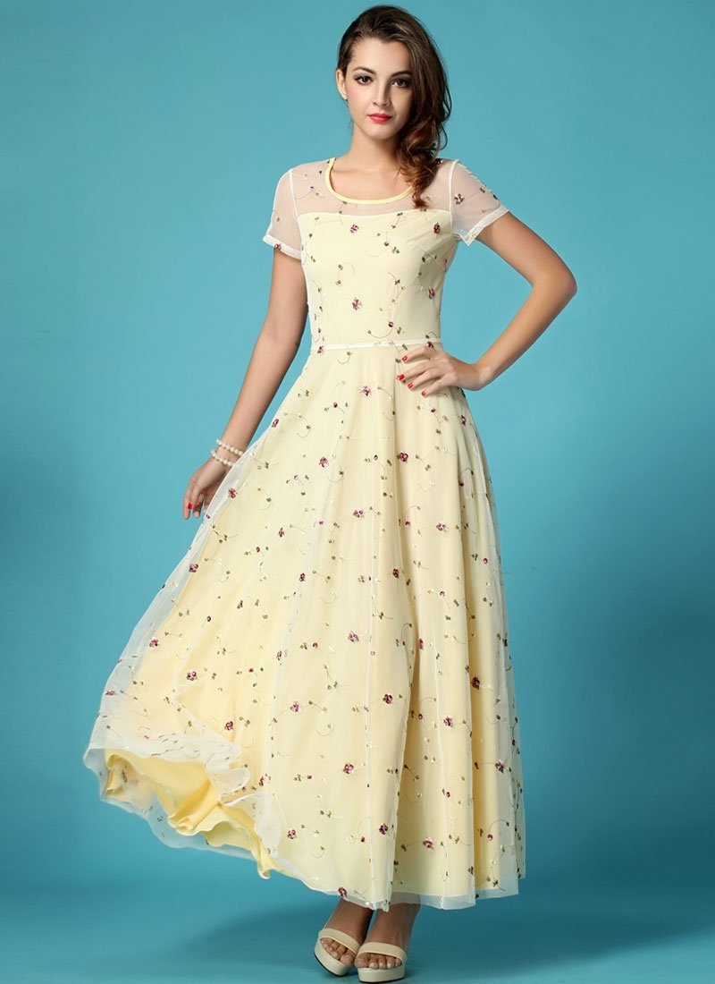 Floral Embroidered Ivory Lace Maxi Dress with Yellow Lining RM274
