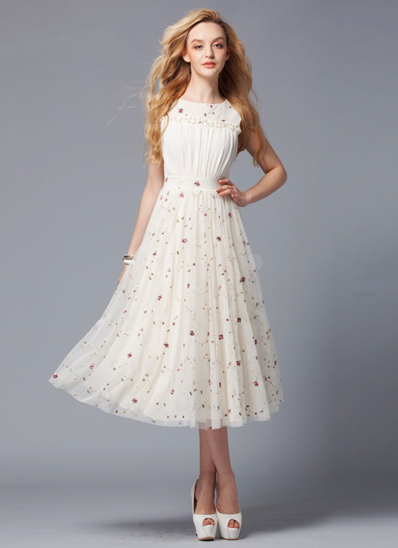 Ivory Lace Tea Dress with Ruffles and Ruched Front Bodice RM286