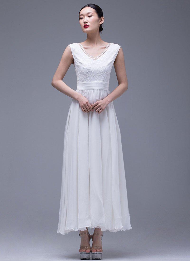 White Lace Chiffon Maxi Dress with V Neck and Pleated Waist Yoke RM296