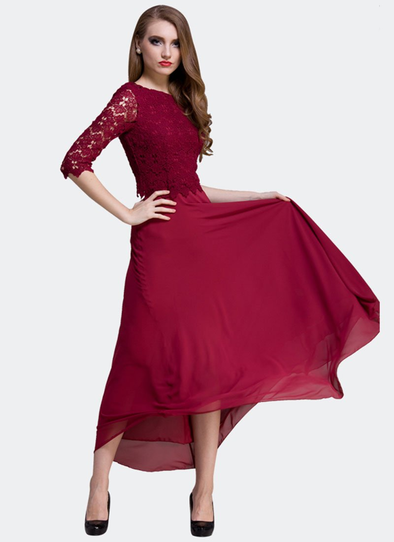 Maroon Lace Chiffon Maxi Dress with Deep Scoop Back RM309