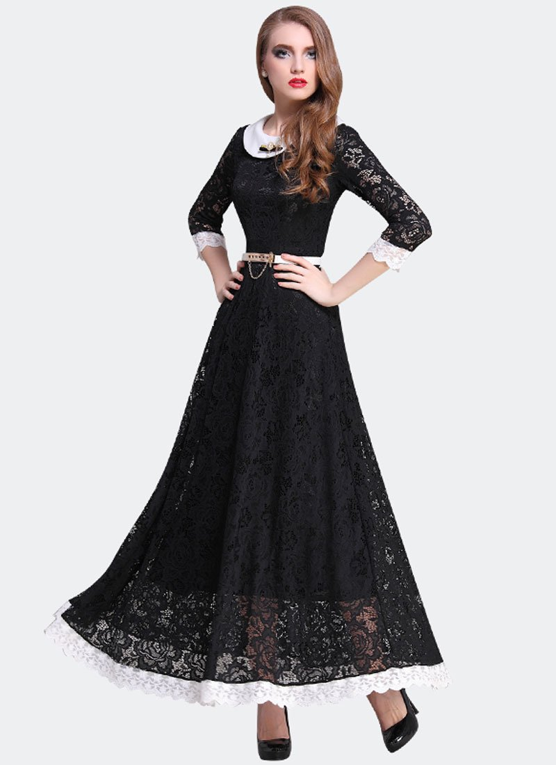 Black Lace Maxi Dress with White Peter Pan Collar RM311