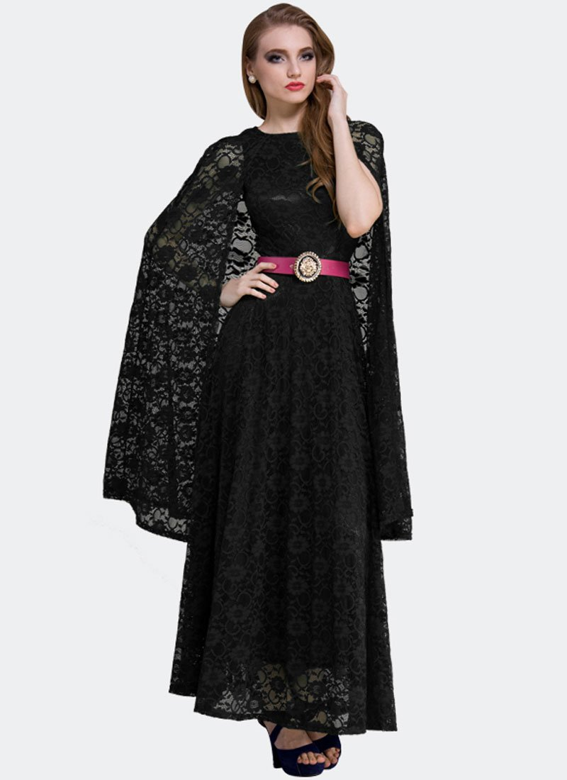 Black Lace Maxi Dress with Cloak RM312