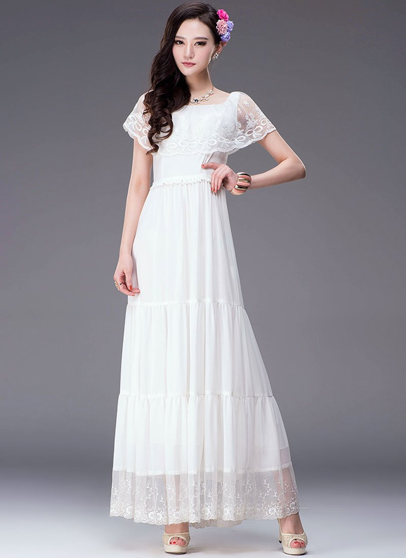 82fd7b18d8 Tiered White Lace Chiffon Maxi Dress with Tiny Cape RM313