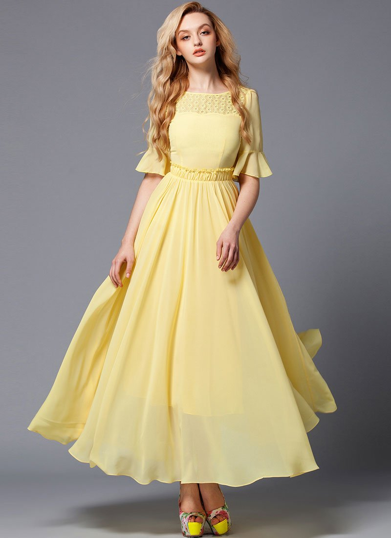 Yellow Maxi Dress with Lace Details and Lantern Sleeves RM318