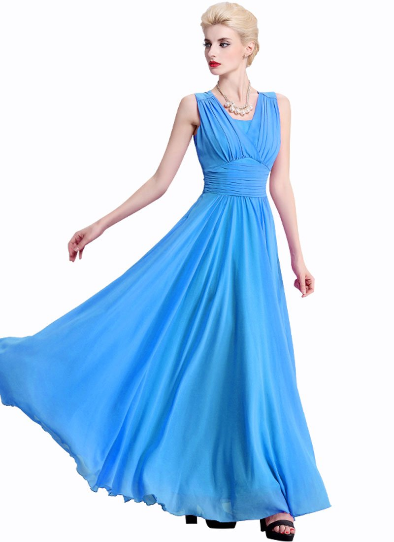 Sky Blue Maxi Dress with V Neck and Wide Ruched Waist Yoke RM319
