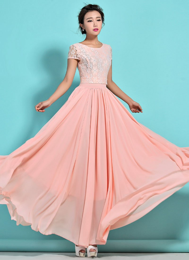 Dusty Rose Pink Lace Chiffon Maxi Dress with Cap Sleeves RM320