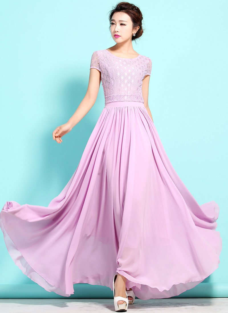 Violet Lace Chiffon Maxi Dress with Cap Sleeves RM320