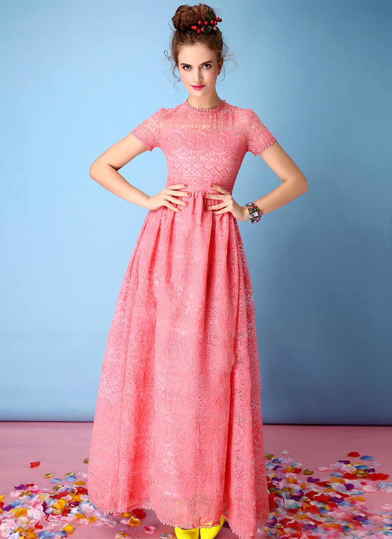 Light Coral Embroidered Organza Lace Maxi Dress RM325