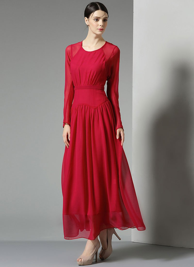 Long Sleeve Red Maxi Dress with Angled Hip Design RM327