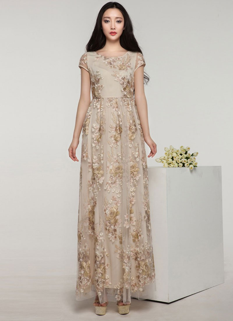 Floral Embroidered Champaign Maxi Dress with Rhinestone Embellishment RM330