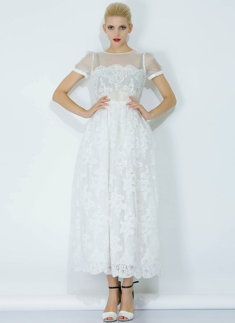 White Lace Organza Maxi Dress with Eyelash Details RM344