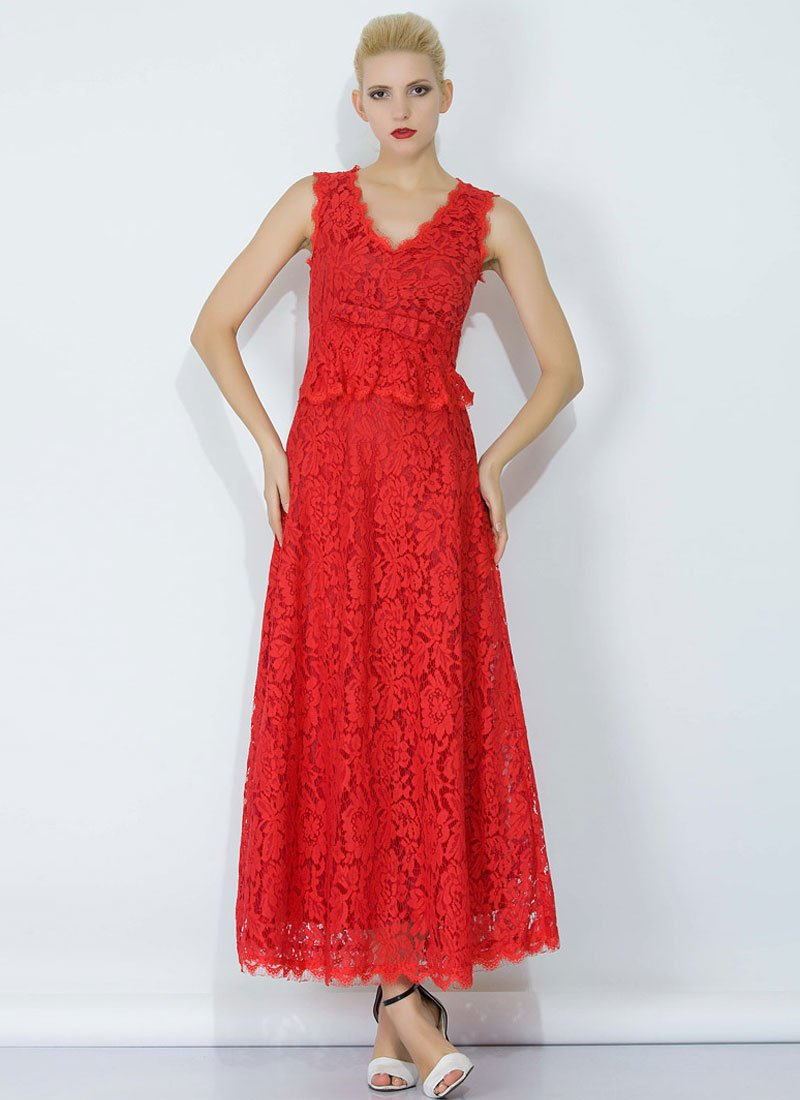 Red Lace Peplum Maxi Dress with Bow Belt and Eyelash Details RM345