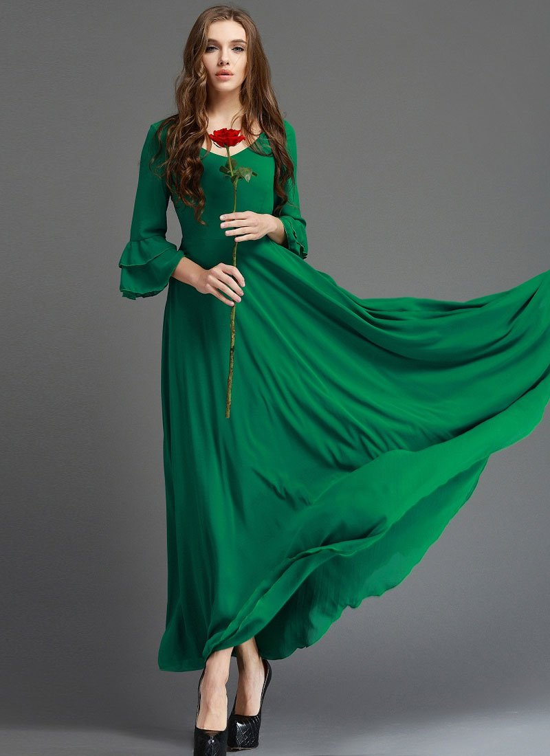 Emerald Green Maxi Dress Quarter Trumpet Sleeves