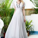 Short Sleeve White Chiffon Maxi Dress with V Neck and Ruched Waist Yoke RM367