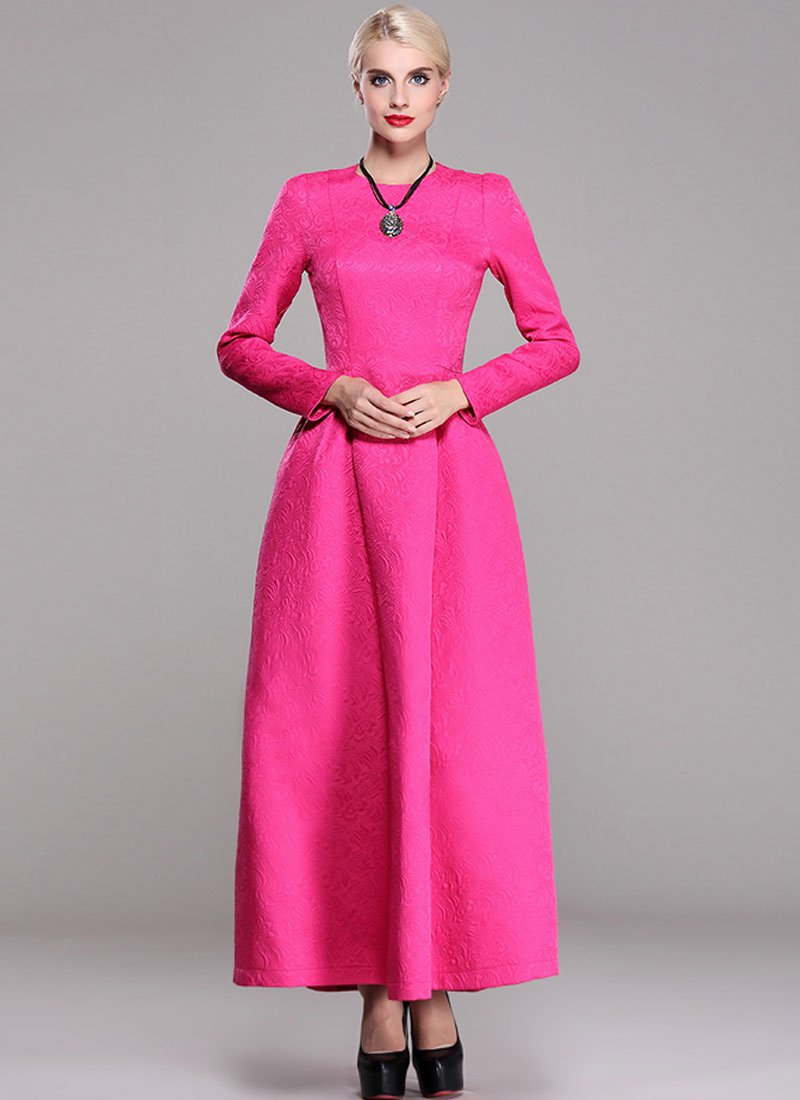 Long Sleeve Fuchsia Jacquard Maxi Dress RM370