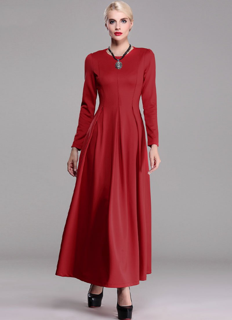 Long Sleeve Maroon Maxi Dress RM372