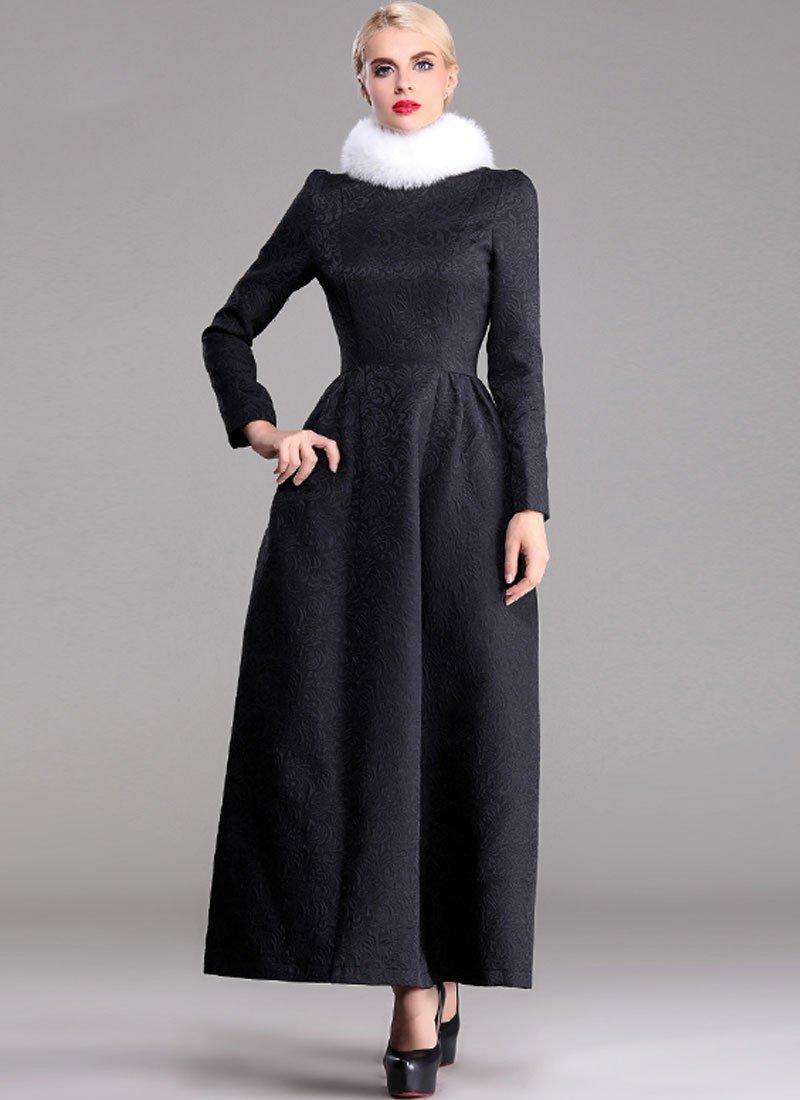 Long Sleeve Black Jacquard Maxi Dress RM373