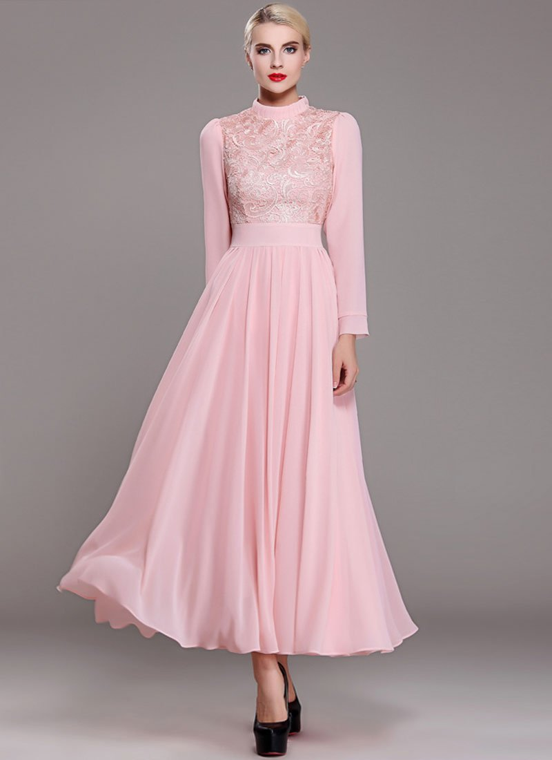 Pink Lace Chiffon Maxi Dress with Stand Collar and Long Sleeves RM375