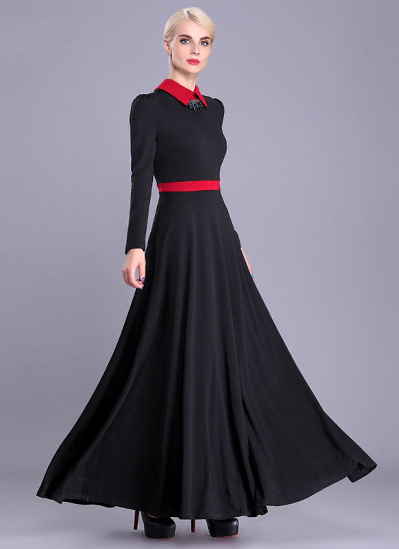 Long Sleeve Black Maxi Dress with Red Collar and Waist Yoke RM378