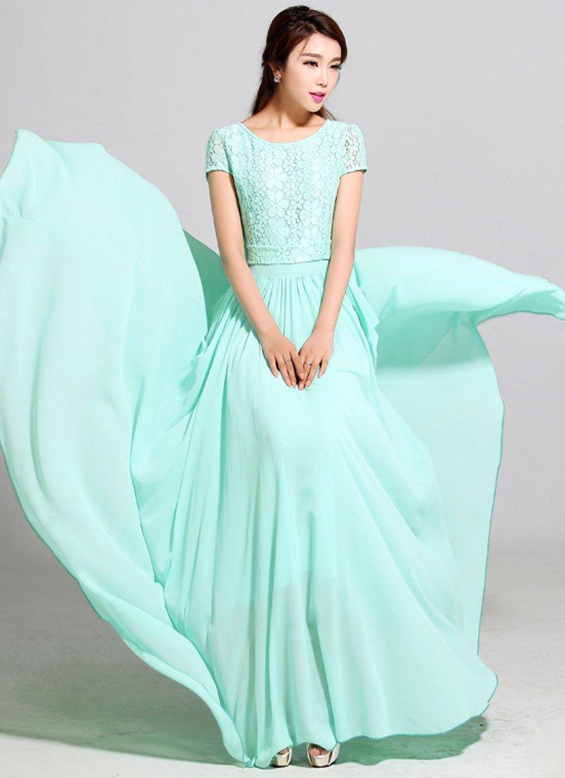 fbcf538574 Aquamarine Lace Chiffon Maxi Dress with Cap Sleeves RM320