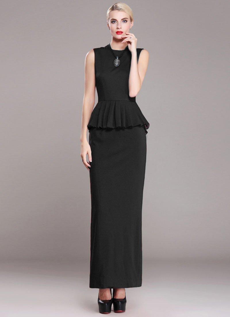 Sleeveless Black Sheath Maxi Dress with Peplum RM380