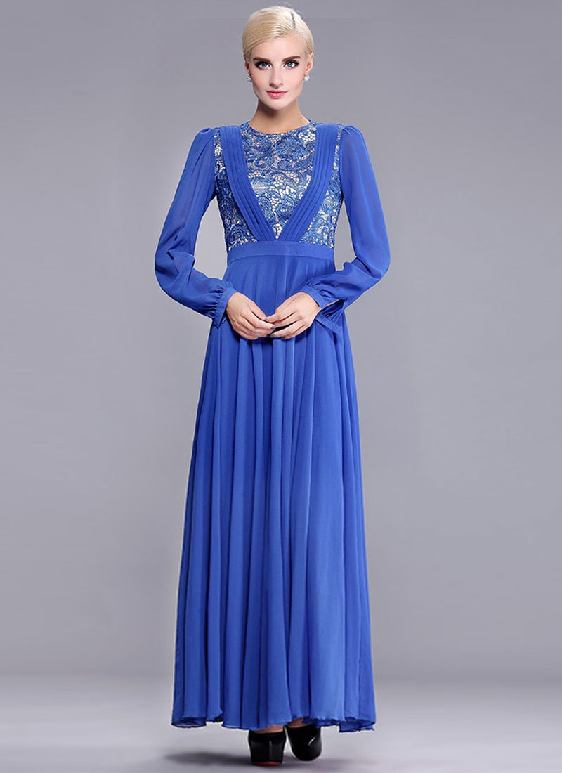 Sapphire Lace Chiffon Maxi Dress with Pleated V Top RM391