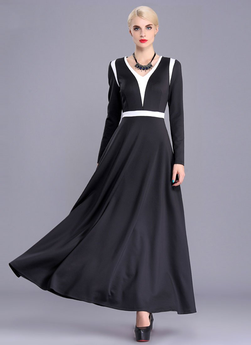 Contrast Colored Black Maxi Dress with White Panel Insertion RM394