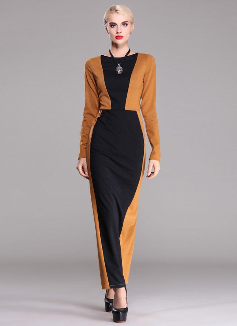 Golden Rod Sheath Maxi Dress with Black Details RM398