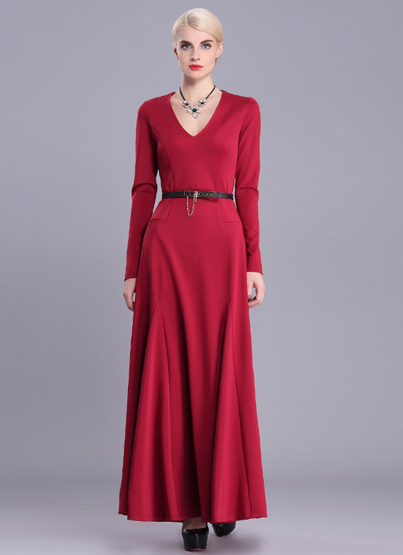 V Neck Red Maxi Dress with Long Sleeves RM404