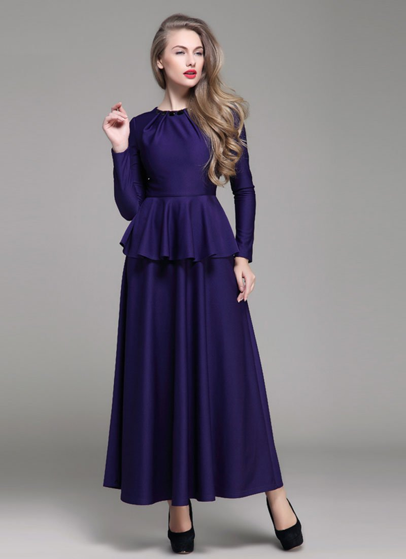 Purple Peplum Maxi Dress with Cabochon Neck RM405