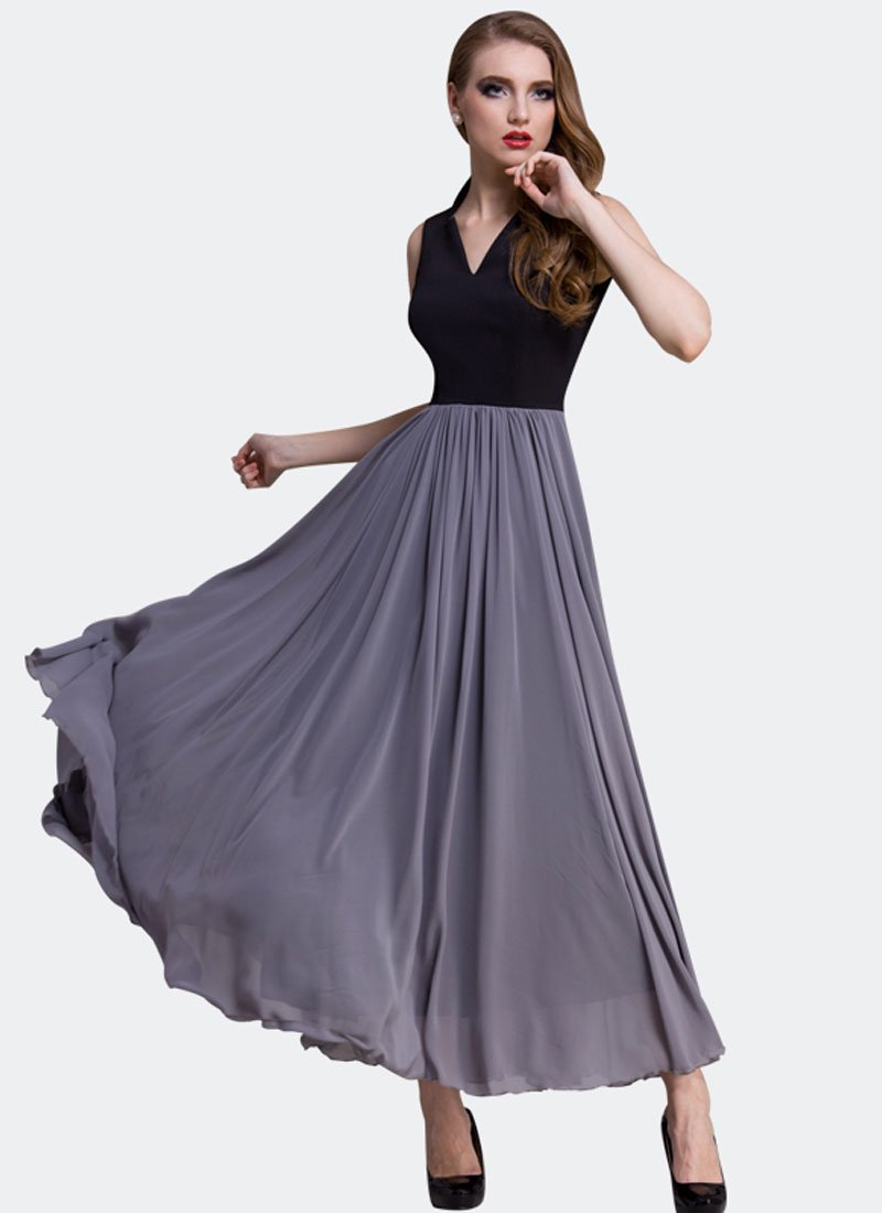 Black and Gray Maxi Dress with Queen Ann Neck RM407