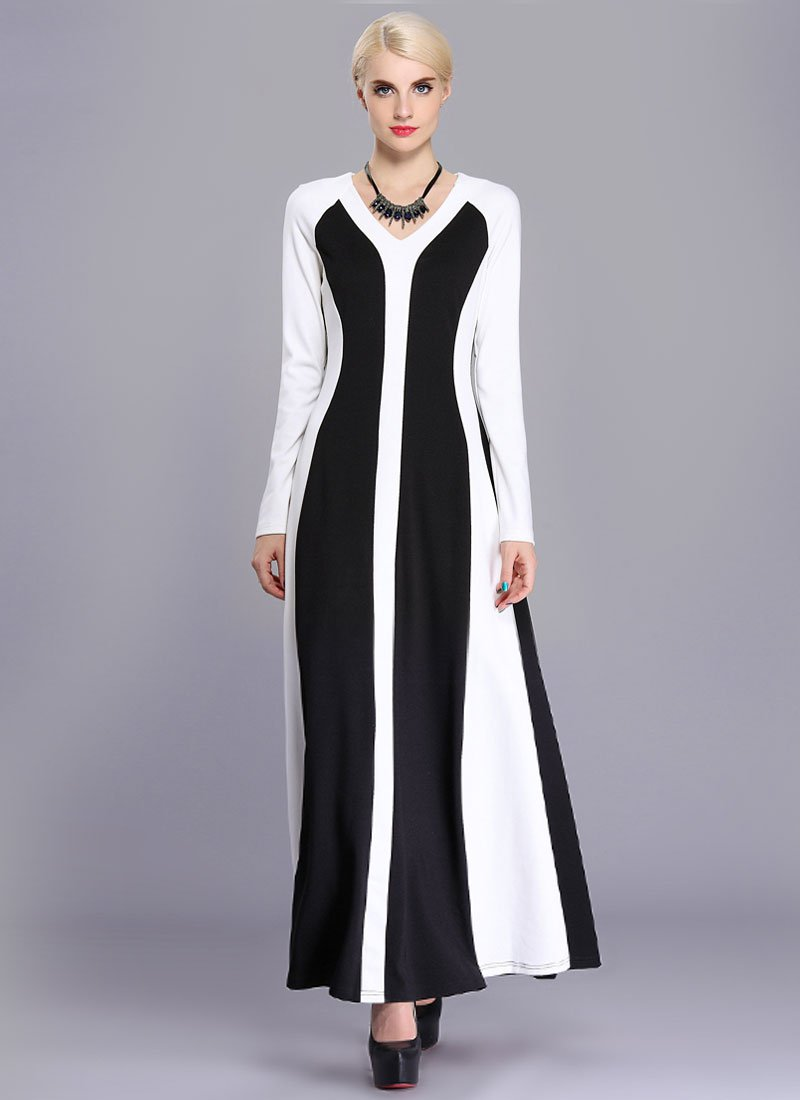 Long Sleeve Black Maxi Dress with White Fabric Panel Details RM412