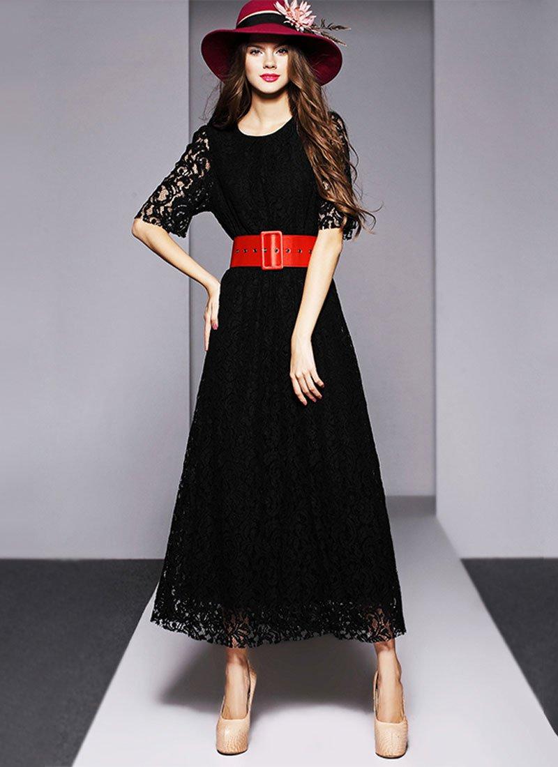 Half Sleeve Black Lace Maxi Dress with Metal Zipper RM413