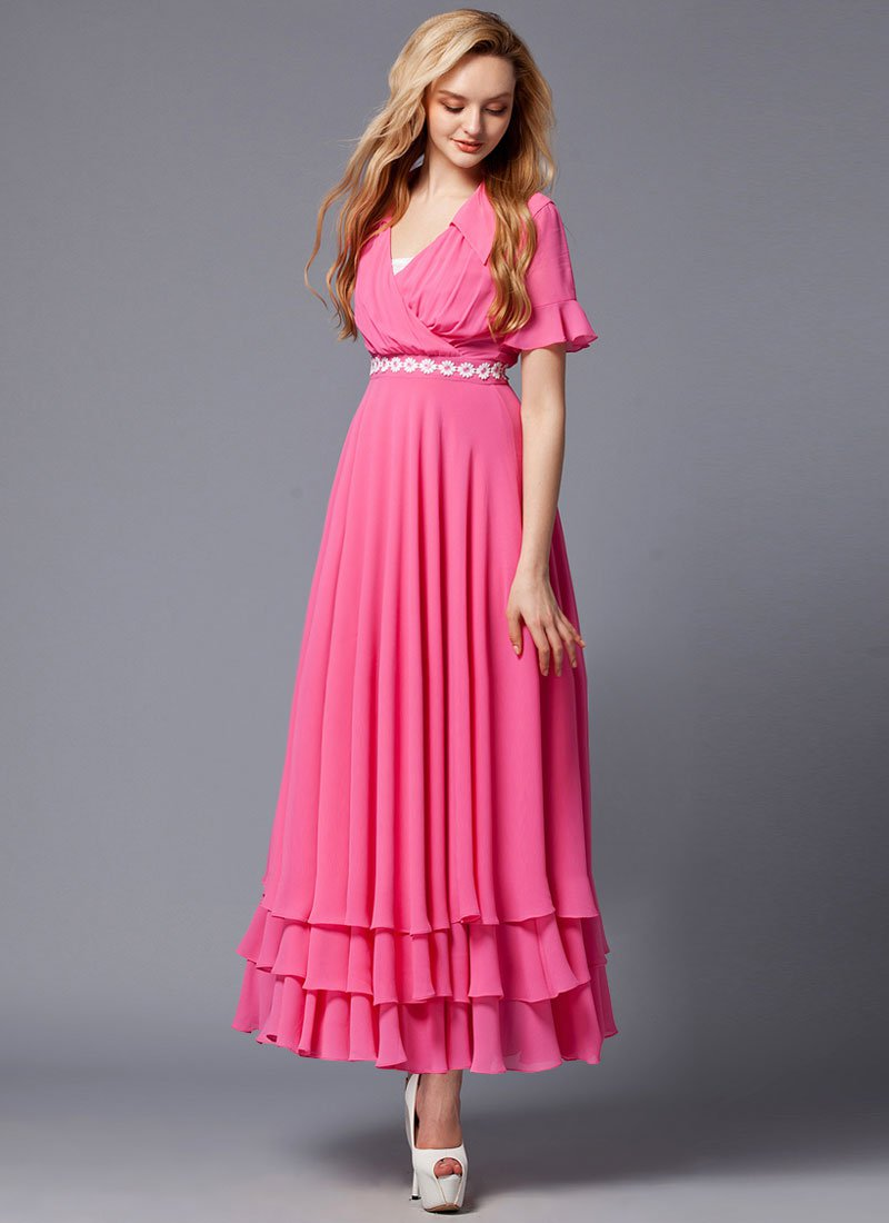 Fuchsia Maxi Dress with White Floral Lace Waist Yoke RM423