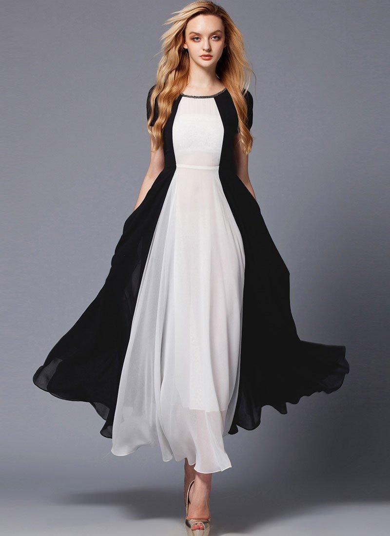 Black and White Maxi Dress with Rhinestone Neck RM425