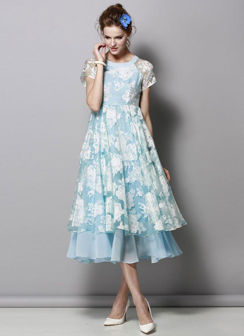 Sky Blue Floral Organza Midi Dress RM427