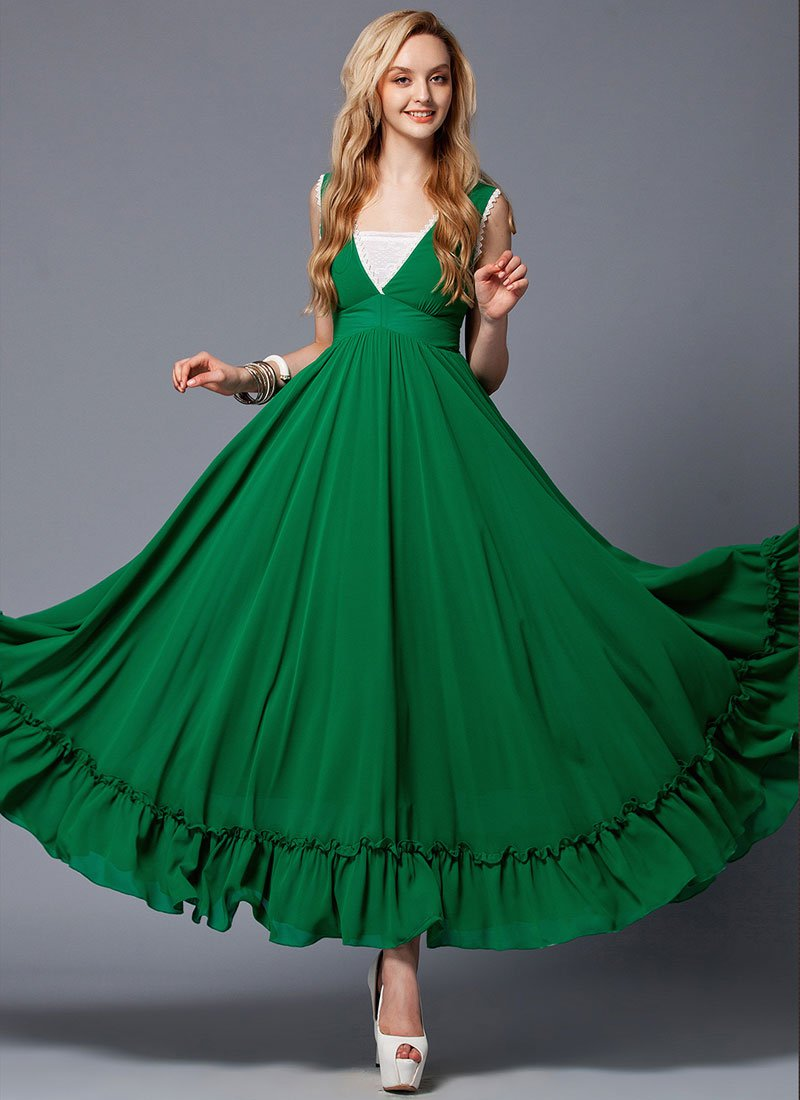 V Neck Emerald Green Maxi Dress with White Lace Trim Details RM431